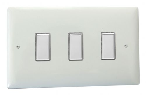Varilight JOT103C Value Polar White 3 Gang V-Pro Multi-Way Touch Master LED Dimmer 0-100W